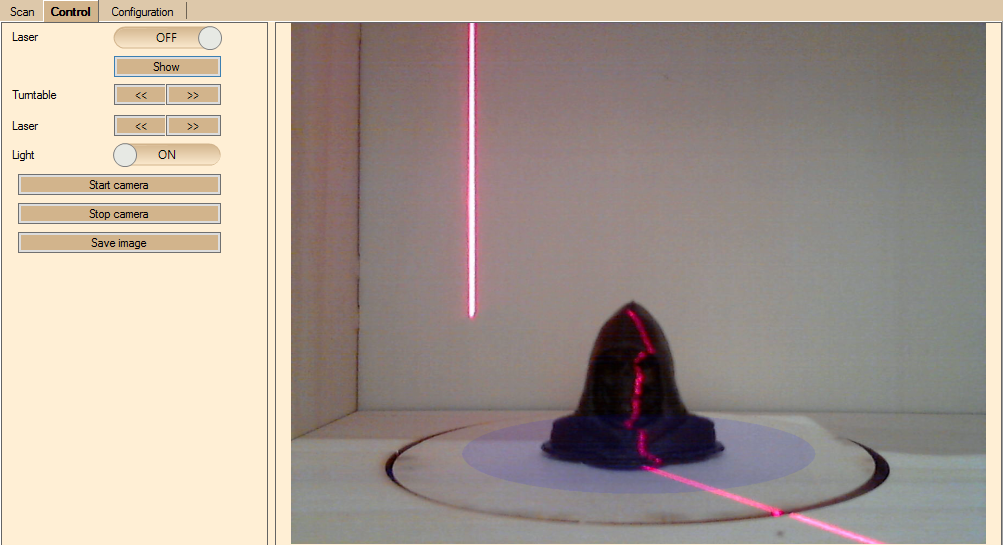 Dunkles Objekt mit Laser